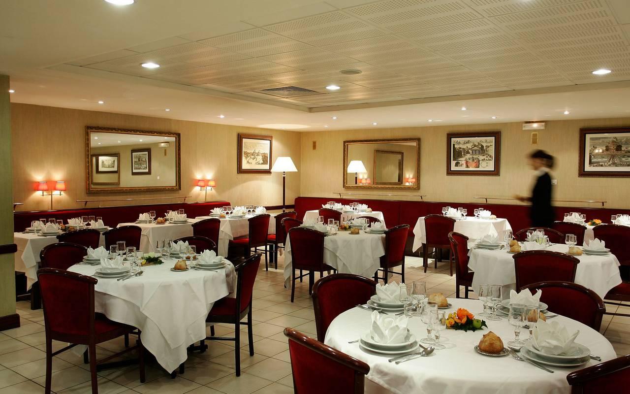 Our tables set up inside the restaurant, brasserie lourdes, Hotel La Solitude.
